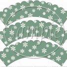 Snowbirds Green Scalloped Blank ~ Cupcake Wrappers ~ Set of 1 Dozen