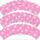 Snowbirds Pink Scalloped Blank ~ Cupcake Wrappers ~ Set of 1 Dozen
