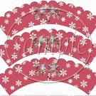 Snowbirds Red Scalloped ~ Cupcake Wrappers ~ Set of 1 Dozen