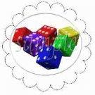 Bunco Colored Dice Scalloped ~ Cupcake Toppers ~ Set of 1 Dozen