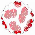 Bunco Red Dice Scalloped ~ Cupcake Toppers ~ Set of 1 Dozen