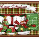 Green Plaid Snowman  ~ Christmas ~  Pint Glass Jar