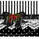 Seasons Greetings Black & White Stripe Bow ~ Christmas ~  Quart Glass Jar