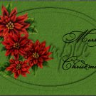 "Merry Christmas Poinsettia Green ~ Horizontal  ~ 6"" X 8"" Foil Pan Lid Cover"