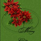 "Merry Christmas Poinsettia Green ~ Vertical  ~ 6"" X 8"" Foil Pan Lid Cover"