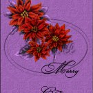 "Merry Christmas Poinsettia Purple ~ Vertical  ~ 6"" X 8"" Foil Pan Lid Cover"