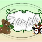 """Bear With Candy Cane Green ~ Christmas  ~ Horizontal  ~ 6"""" X 8"""" Foil Pan Lid Cover"""