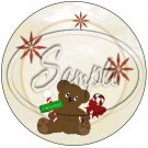 """Bear With Candy Cane Tan ~ Christmas  ~ 7"""" Round Foil Pan Lid Cover"""
