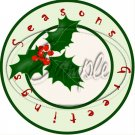 """Seasons Greetings Green Holly~ Christmas  ~ 7"""" Round Foil Pan Lid Cover"""