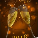 "Champagne Glasses Happy New Year 2016   ~ Vertical  ~ 6"" X 8"" Foil Pan Lid Cover"