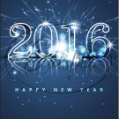 "Dark Blue Fireworks Happy New Year 2016   ~ Vertical  ~ 6"" X 8"" Foil Pan Lid Cover"