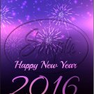 "Purple Fireworks Happy New Year 2016   ~ Vertical  ~ 6"" X 8"" Foil Pan Lid Cover"