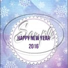 "Water Color Blue & Purple Happy New Year 2016   ~ Vertical  ~ 6"" X 8"" Foil Pan Lid Cover"