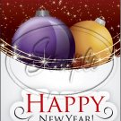 "Purple & Gold Ornament Happy New Year 2016   ~ Vertical  ~ 6"" X 8"" Foil Pan Lid Cover"