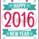 "Pink & Aqua  New Year 2016   ~ Vertical  ~ 6"" X 8"" Foil Pan Lid Cover"
