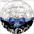 "Joy To The World Blue Ribbon Christmas ~ 7"" Round Foil Pan Lid Cover"