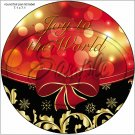 "Joy To The World Red & Gold Ribbon ~ Christmas  ~ 7"" Round Foil Pan Lid Cover"