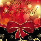"Joy To The World Red & Gold Ribbon ~ Christmas   ~ Vertical  ~ 6"" X 8"" Foil Pan Lid Cover"