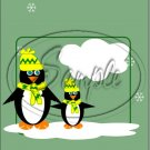 "Penguins Green  ~ Christmas  ~ Vertical  ~ 6"" X 8"" Foil Pan Lid Cover"