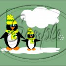 "Penguins Green ~ Christmas  ~ Horizontal  ~ 6"" X 8"" Foil Pan Lid Cover"