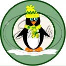 "Penguins Green ~ Christmas   ~ 7"" Round Foil Pan Lid Cover"