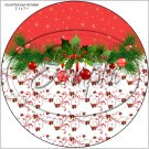 "Red Christmas Garland ~ 7"" Round Foil Pan Lid Cover"