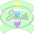 Conversation Hearts Green ~ Valentine's Day ~ Scalloped Cupcake Wrappers ~ Set of 1 Dozen