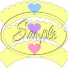 Conversation Hearts Yellow ~ Valentine's Day ~ Scalloped Cupcake Wrappers ~ Set of 1 Dozen
