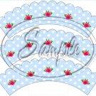 Blue Small Roses Polka Dot ~Tea Party Teacup Cupcake Wrappers ~ Set of 1 Dozen