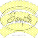 Yellow Blank Polka Dot Tea Party Teacup Cupcake Wrappers ~ Set of 1 Dozen