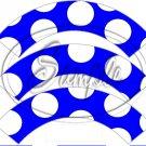 Blue Large Polka Dot Tea Party ~ Tea Cup Cupcake Wrappers ~ Set of 1 Dozen