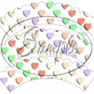 Multi-Colored Conversation Heart ~ Scalloped Cupcake Wrappers ~ Set of 1 Dozen
