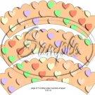 Orange Multi-Colored Conversation Heart ~ Scalloped Cupcake Wrappers ~ Set of 1 Dozen
