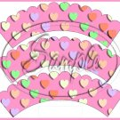 Pink Multi-Colored Conversation Heart ~ Scalloped Cupcake Wrappers ~ Set of 1 Dozen