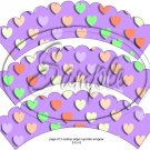 Lavender Multi-Colored Conversation Heart ~ Scalloped Cupcake Wrappers ~ Set of 1 Dozen