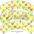 Yellow Multi-Colored Conversation Heart ~ Scalloped Cupcake Wrappers ~ Set of 1 Dozen