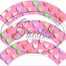 Pink Multi-Colored Conversation Heart ~ Cupcake Wrappers ~ Set of 1 Dozen
