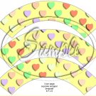 Yellow Multi-Colored Conversation Heart ~ Cupcake Wrappers ~ Set of 1 Dozen