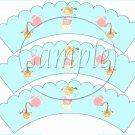 Aqua Tea Party ~ Tea Cup Scallop Cupcake Wrappers ~ Set of 1 Dozen