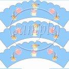 Blue Tea Party ~ Tea Cup Scallop Cupcake Wrappers ~ Set of 1 Dozen
