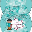 Aqua Happy Valentine's Day  AA Boy ~ Set of 12 Pillow Treat Gift Box