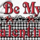 Be My Valentine Black, White & Red  ~  Pint Glass Jar
