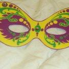 Yellow & Purple Mardi Gras Mask ~ Paper Party Favors ~ 1 Dozen