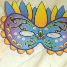 Yellow & Aqua Mardi Gras Mask ~ Paper Party Favors ~ 1 Dozen