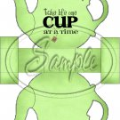 Green Take Life One Cup At a Time Teapot  ~ Teapot Treat Tote