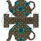 Brown Teapot & Teal Rose  ~ Teapot Treat Tote ~ 1 Dozen