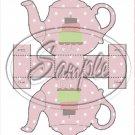 Mauve Teapot With Cake   ~ Teapot Treat Tote