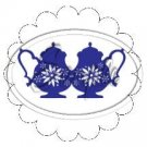 Blue Teapots Scallop Cupcake Toppers ~ Set of 1 Dozen