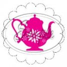 Pink Teapot Scallop Cupcake Toppers ~ Set of 1 Dozen