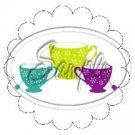 3 Tea Cup Scallop Cupcake Toppers #2 ~ Set of 1 Dozen
